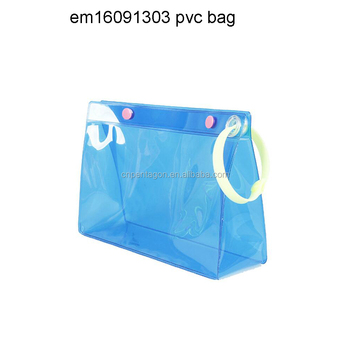 Cheap PVC waterproof travel beach cosmetic bag with handle