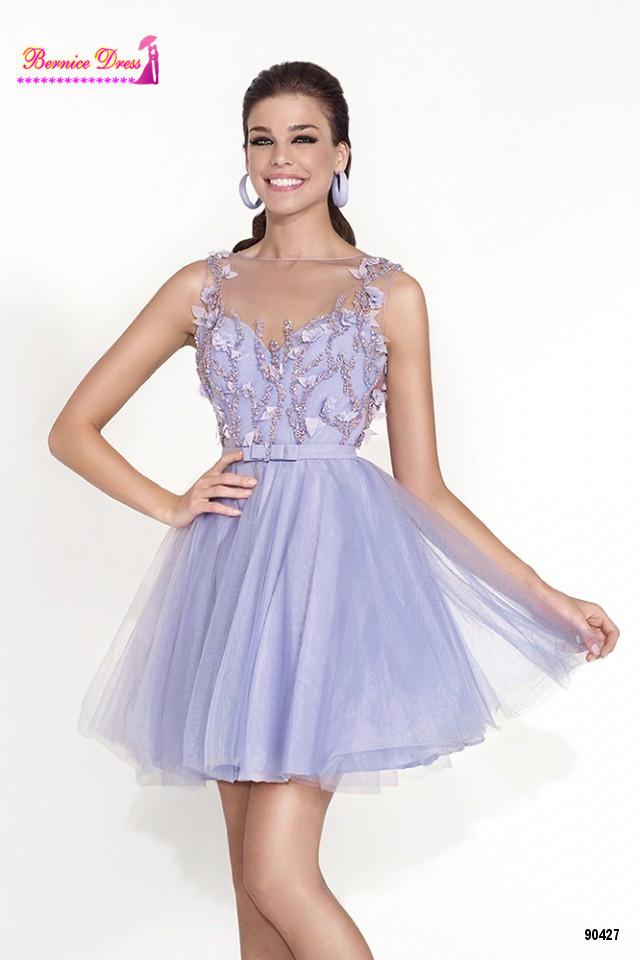 0ef389490 Abendkleider Purple Flower Short Prom Dresses For Teens Vestido De Festa  Cheap Dress For Party Elegant
