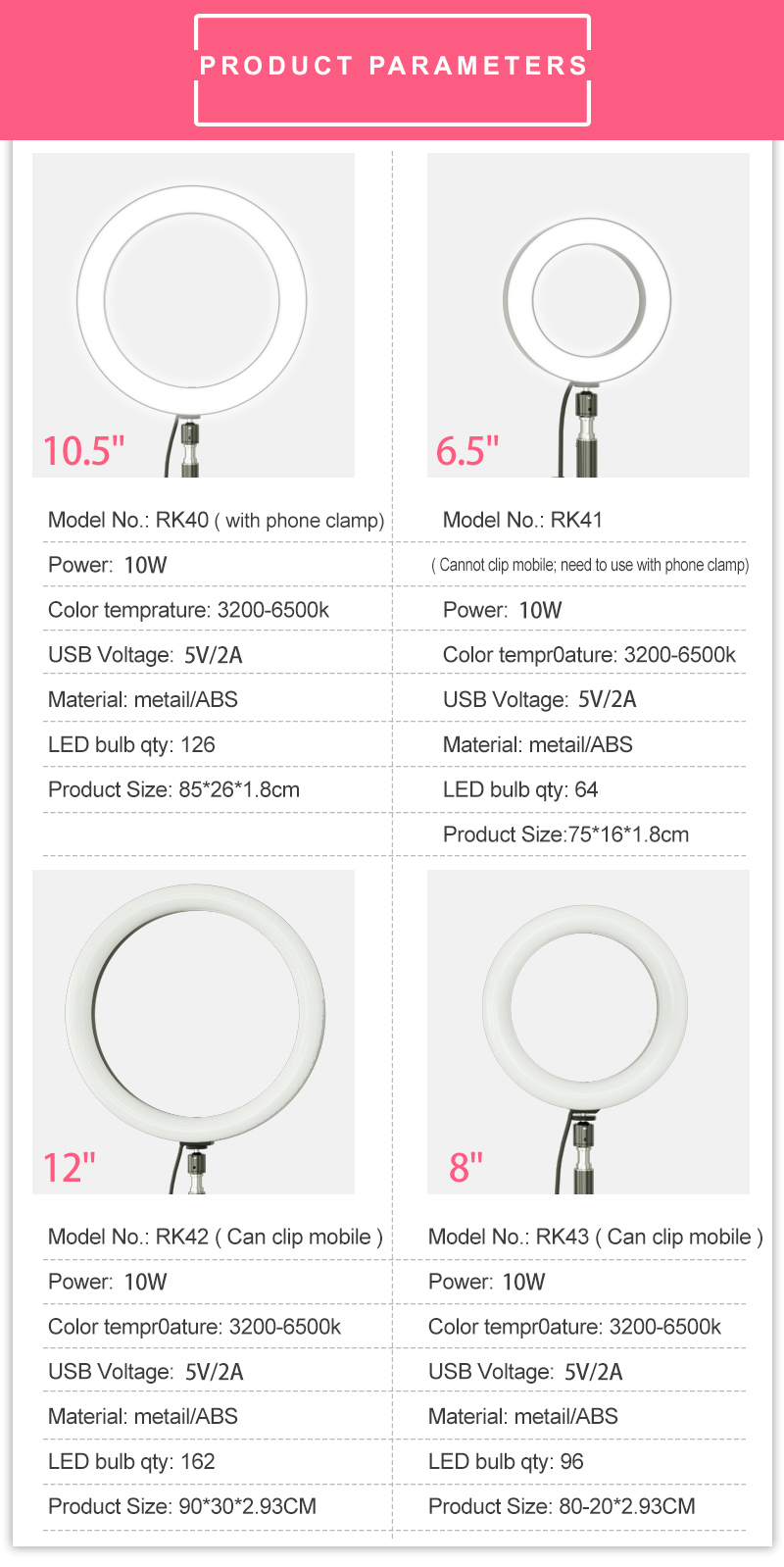 Lcose Rk41 Selfie 16cm Mini Photo Studio Led Camera Ring Light Dimmable Phone Video Photography