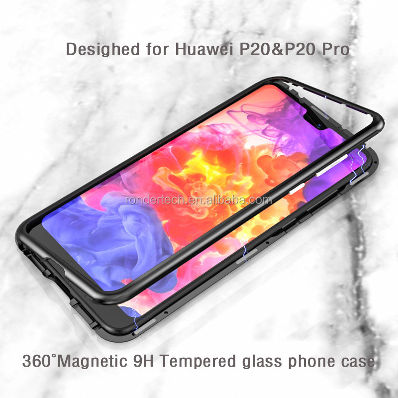 detailing 60d03 14b7a Magnetic Cases For Huawei P20 Pro Case Slim 2 in 1 Aluminum Metal Magnet  Bumper + Tempered Glass Cover With Glass Film, View For Huawei P20 P20 Pro,  ...