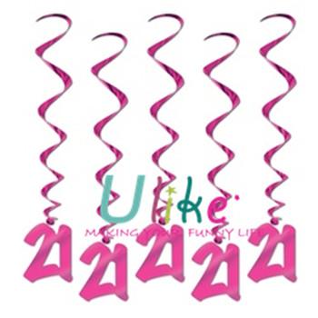 2017 New Design Handmade Xmas Of 21 Years Wedding Anniversary Decoration Pvc Swirl Hanging