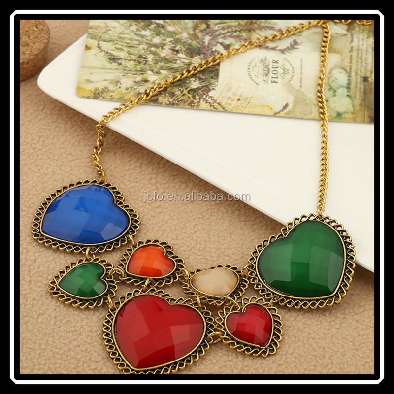 2014 Hot Sale Best Friend Heart Necklace Big Heart Colorful Beautiful Pendant Chunky Necklace