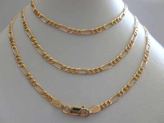 14K Solid Gold Figaro Flat Link Chain Necklace,Curb Chains