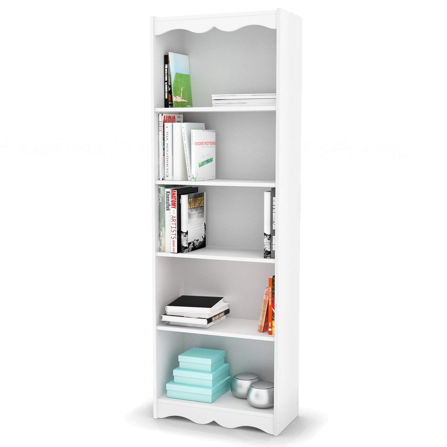 Trustpurchase White 72-inch High Bookcase with Soft Arches and 5 Shelves, with The Soft Arches and Beautiful Open Shelves of This White 72-inch High Bookcase with Soft Arches and 5 Shelves