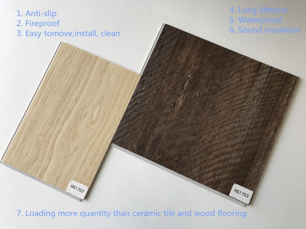 Hanshan waterproof mm thickness pvc click vinyl plank flooring