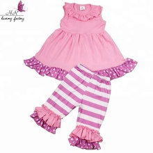 High quality cotton fabric pink dress and stripe shorts vintage childrens boutique clothing sale
