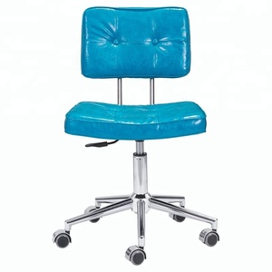 Leather armless all roller office chair for college students
