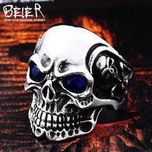 BEIER, нержавеющая сталь, мужское готическое кольцо капалы с черепом и красным/голубым глазом, байкерское ювелирное изделие для мужчин, BR8-547(Китай)