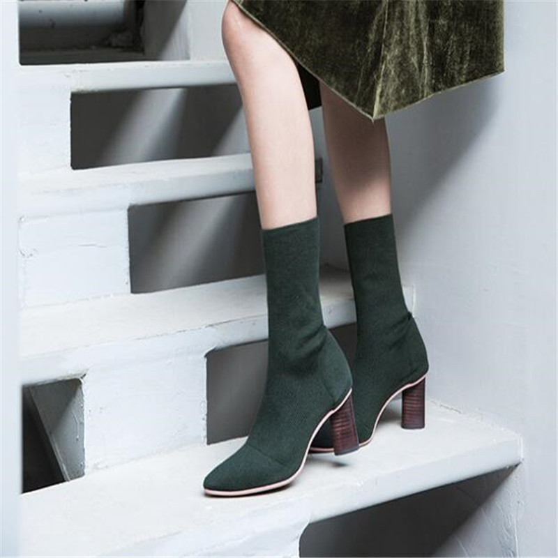 heeled short toe shoes pointed knitted sexy Winter fashion high pump crochet women' thick boots 2018 slim Tq1HRH