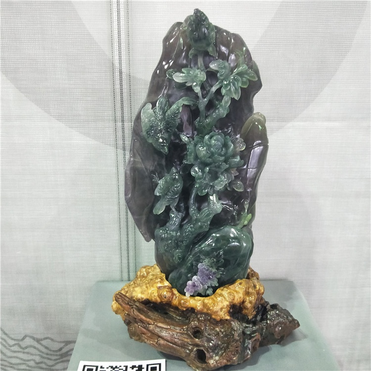 Exquisite purple onyx hand carved stone carving sculpture
