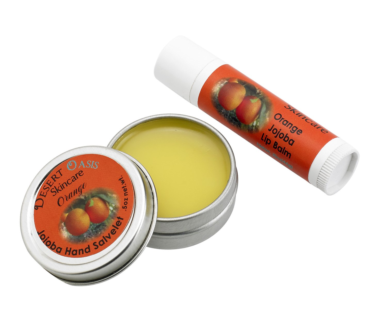 Jojoba Oil Travel Size Orange Hand Salve and Lip Balm, all natural, cold pressed and undeoderized jojoba oil and mildly scented with Orange Zest, Salve (0.5 oz/14 gm) Lip balm (0.15 oz/4.6 gm) 2 units