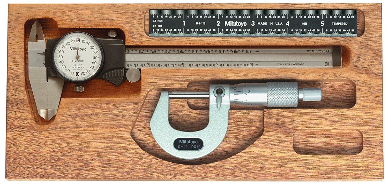 "Mitutoyo 950-920, Tool Kit, 0-1"" X .001"" Ratchet Micrometer, 6"" X .001"" X .200""/Rev. Dial Caliper, 6""(16R) Black Chrome Scale, In Mahogany Case"
