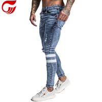 2019 New Hip Hop Blue Stretchy With White Tape Men Jeans