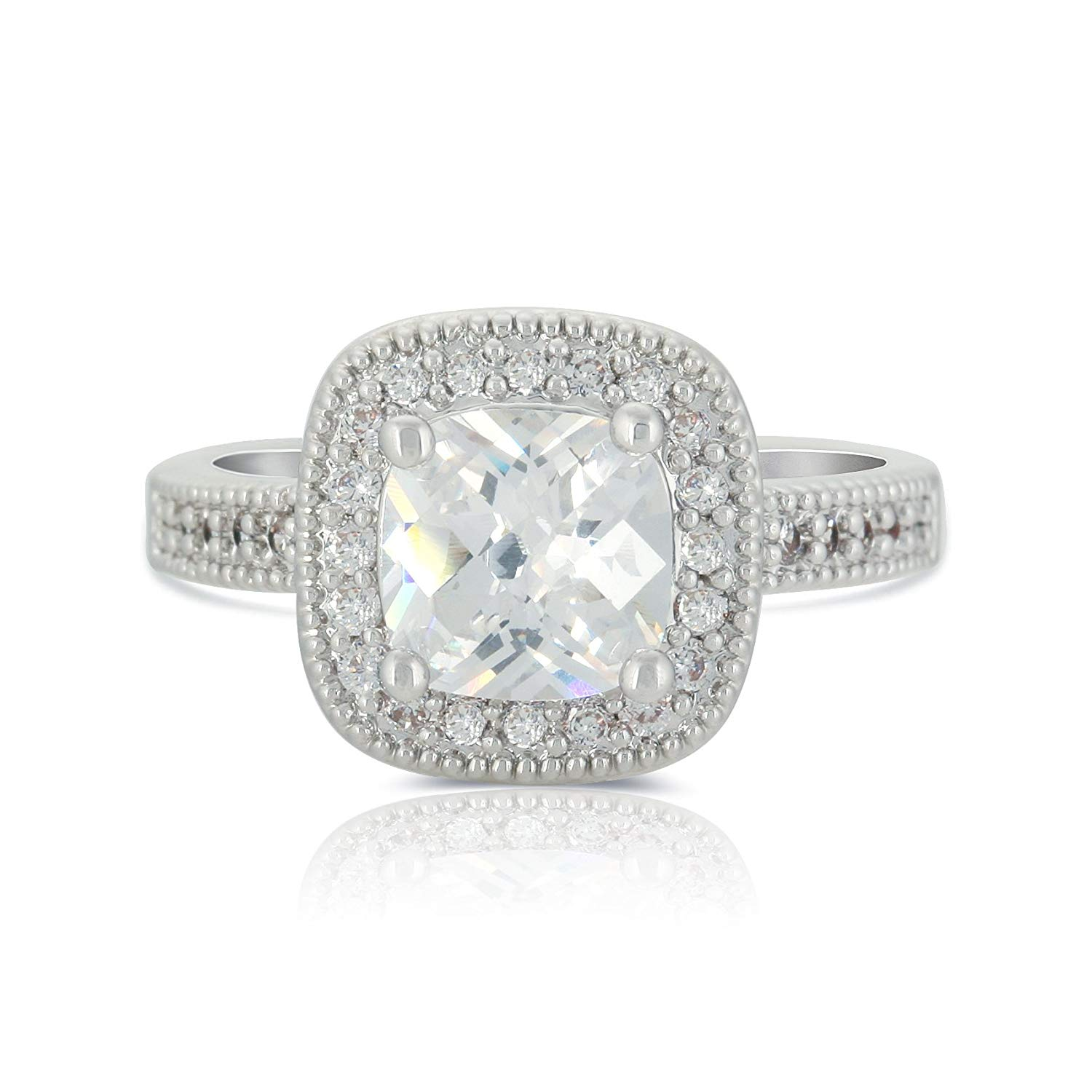 Get Quotations Jankuo Jewelry Rhodium Plated Cushion Cut Cubic Zirconia Halo Vintage Styles Bridal Wedding Engagement Ring