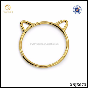 Gold Plated Jewelry Cat Ears Silhouette Sterling Silver Midi Ring