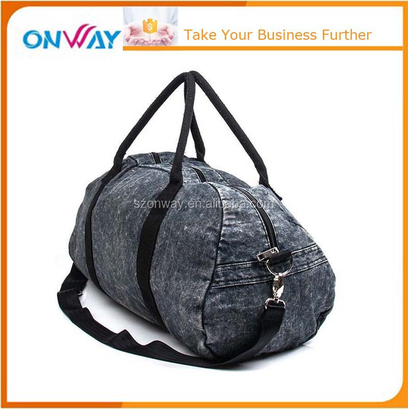 Washed black jeans cool weekend duffle bag travel