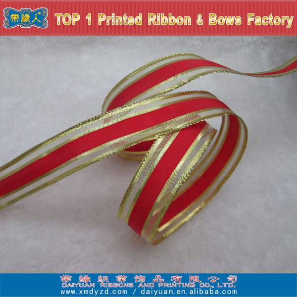 Satin golden wired sheer craft halloween ribbon