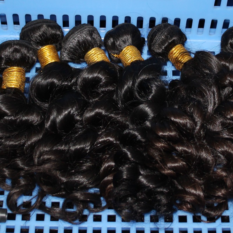 100% Virgin malaysian hair weaving/weft spring curl Can be dyed any color