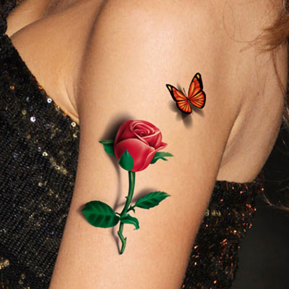 d557974b1 Get Quotations · TAFLY 5 Sheets 3D Ladies Body Art Sticker Sexy Butterfly  Rose+Butterfly Temporary Tattoo