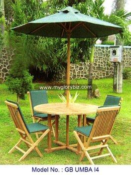 Teck Bois Salon De Jardin Avec Parasol,Pliable Meubles En Bois De ...
