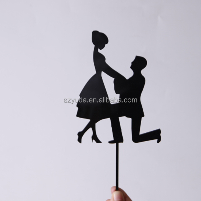 acrylic black couple wedding topper bride and groom cake topper