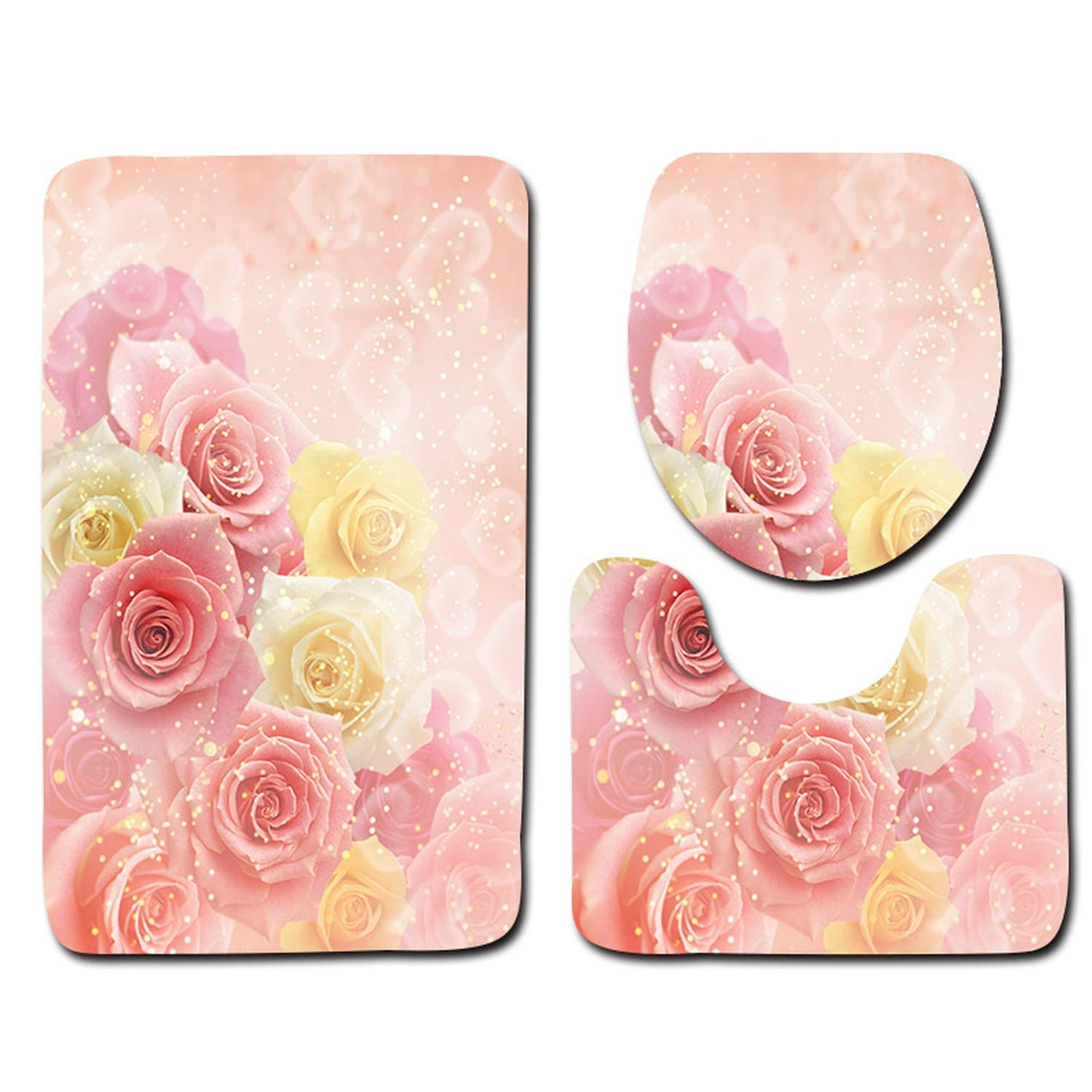 Acereima 3Pcs Rose Printed Bath Mats Toilet Set Rugs Non-Slip Bathroom Carpet Set Toilet Mats,7,3 Pieces