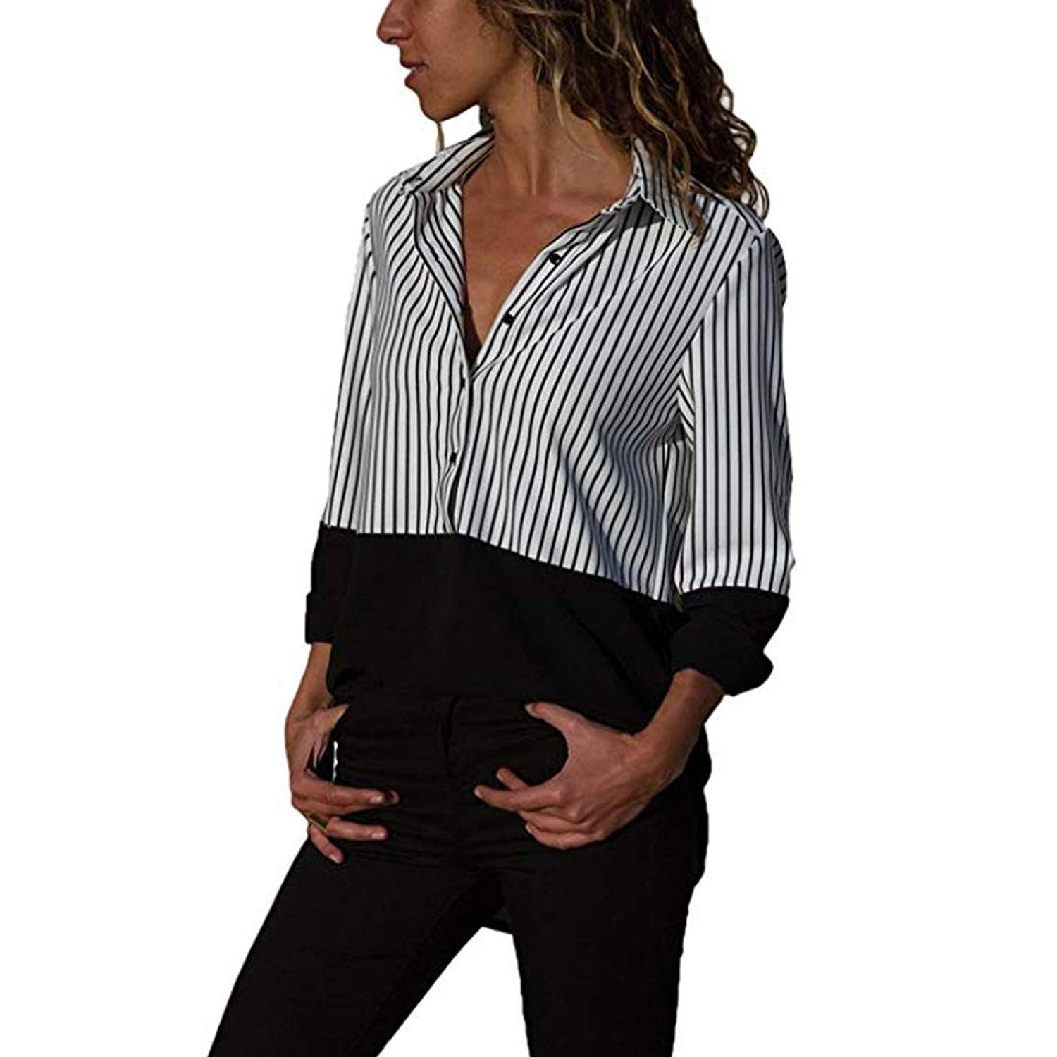 Funic Womens Autumn Casual Long Sleeve Color Block Stripe Button up T Shirts Tops Blouse