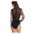 Hot Gold Sequin Black Mesh Bodysuit Deep V-Neck Long Sleeve Romper Women Sexy Pink Flowers Fashion Jumpsuit