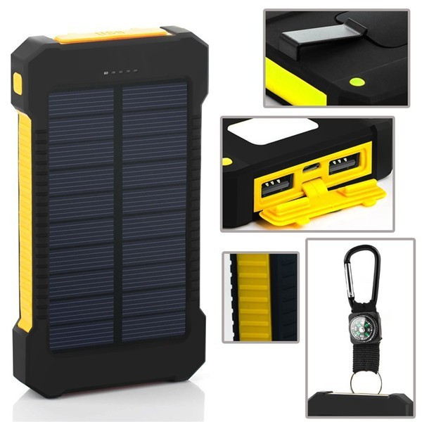 2018 Factory supply Full capacity waterproof solar power bank 20000mah portable mobile solar charger
