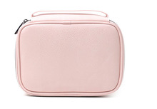 FuYuan Factory Top Quality Blank Pink PU Leather Makeup Bag Traveling Eco Beauty Cosmetic Bag Train Case