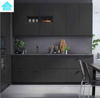 2017top Quality Black Melamine Kitchen Cabinet Design