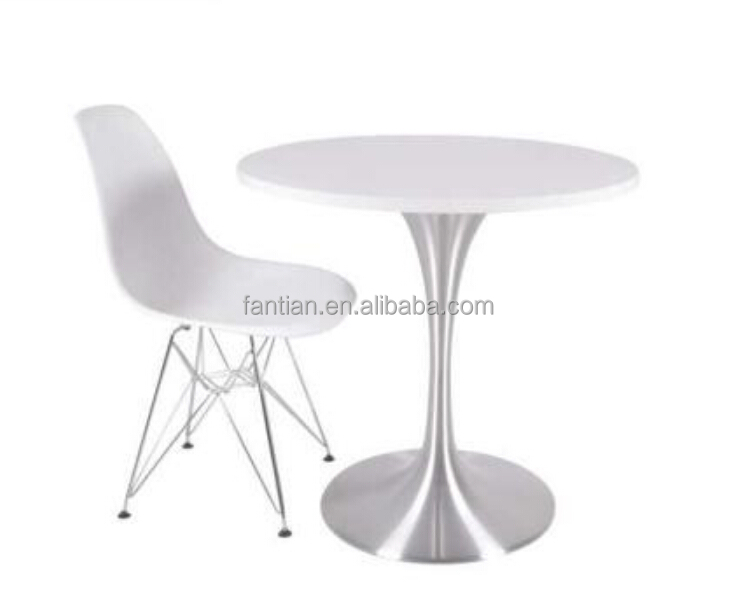 brushed aluminum tulip table coffee table and chair