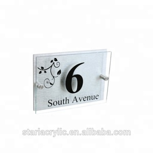 Modern Clear Acrylic Address Plaque Block House Number Sign Plaque Sign Holder Logo Block Frame Door Signs Wall Frames