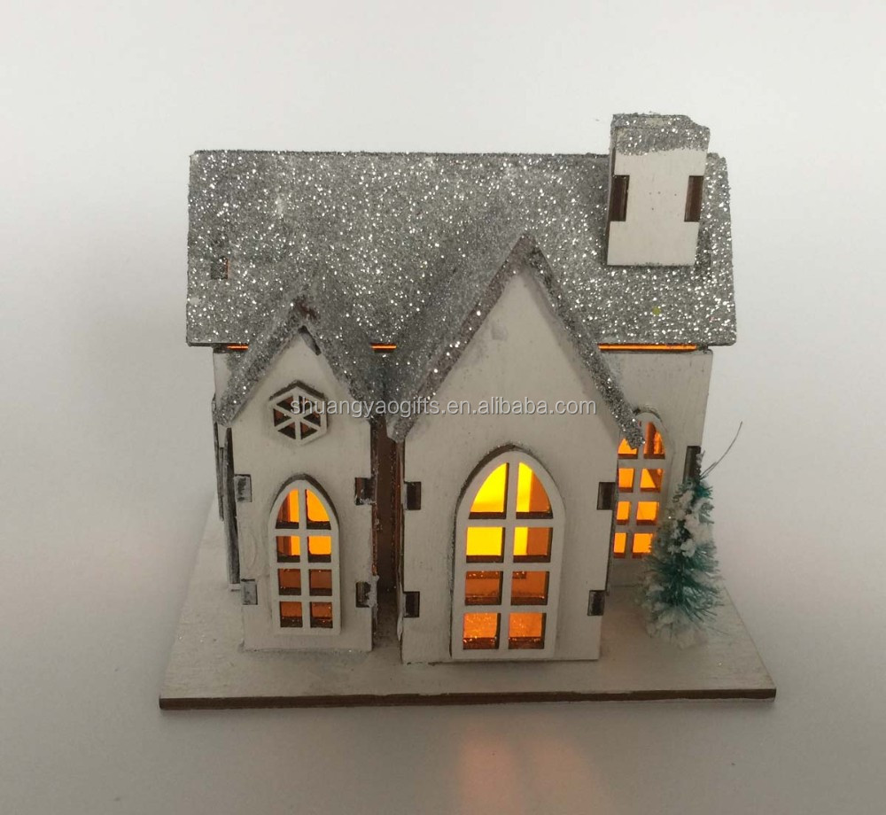 Laser cutting Wooden christmas mini village with LED light