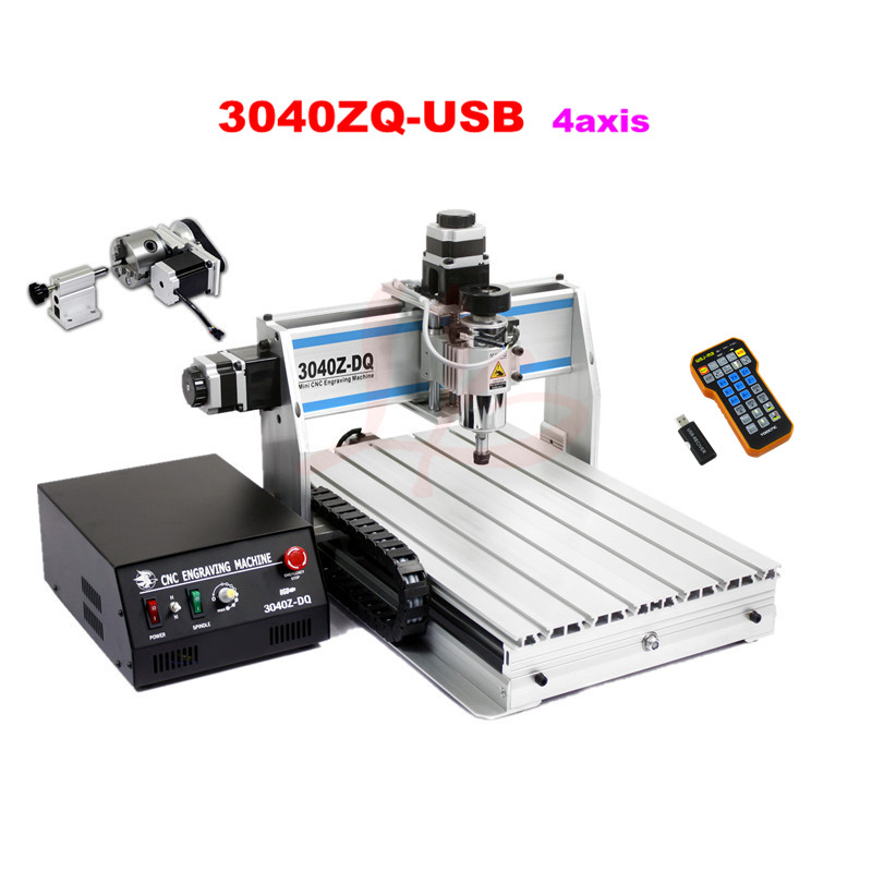 China Cnc Router 3040zdq-usb 4 Axis With Mach3 Remote Control Cnc Milling  Metal Machine Woodworking Price List - Buy China Cnc Router Price List,Cnc