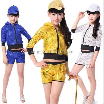 4ba6e7256ef5 Girls Jazz Dance Costumes Sequin Design Wholesale Hip Hop Clothing ...