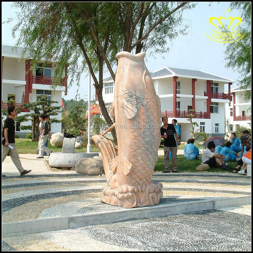parque de esculturas de mrmol blanco grifo de pescado fuente de patio jardn fuente de agua