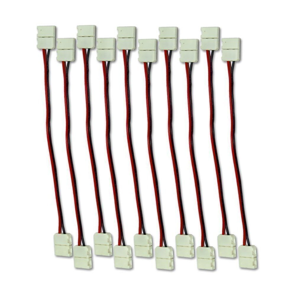 Mingdak 8mm Any Angle Strip to Strip Connector for (Smd3528) Single Color 3528 Led Strip Light - Pack of 10