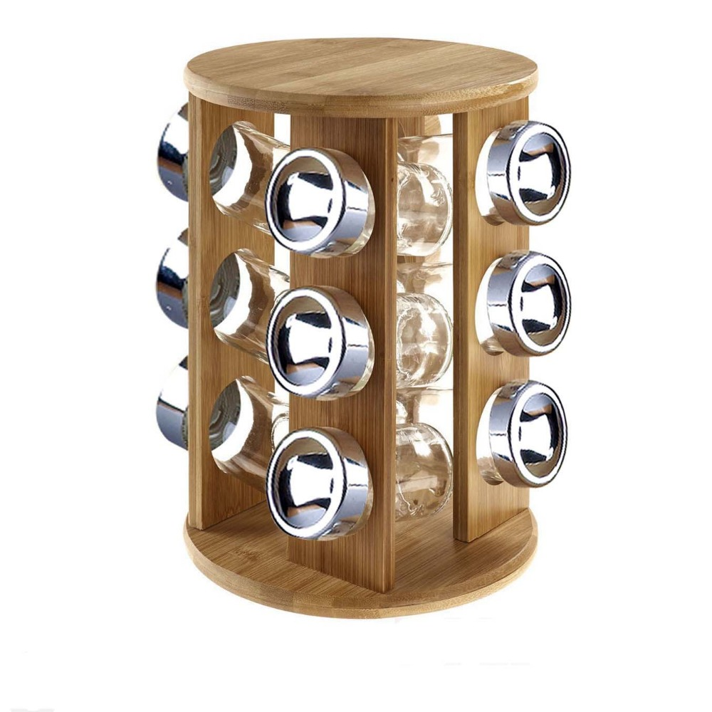 Kitchen bamboo revolving spice rack with 12 glass spice jars buy bamboo spice rackspice rack setrevolving spice rack product on alibaba com