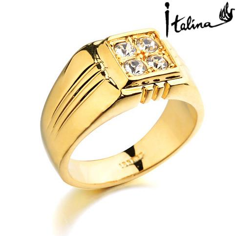Real Italina Rings for men Genuine Austria Crystal 18K Gold Plated Fashion wedding ring New