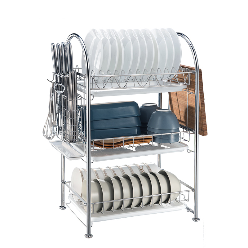 3-tier Stainless Steel Dish Drying Rack Kitchen Bowl Plate Organizer Dish  Drainer Rack - Buy Dish Drainer Rack,Kitchen Bowl Plate Organizer,Stainless  ...
