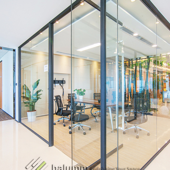 Clear Tempered Glass Aluminium Partition High Wall, Prefabricated Interior  Partition Walls ,interior Partition