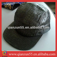 2013 new design crocodile skin 5 panel caps real black leather fabric 5 panel hats
