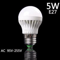 2016 new arrive 95V-255V 5W High Power E27 Warm White LED Light Lamp Energy Savings Ball Bulb