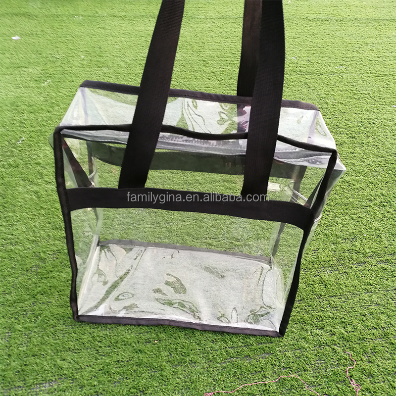 b7884d1dde8 Personalized Shoulder Straps And Zippered Top PVC Women' Stadium Clear Tote  Bag For Work,