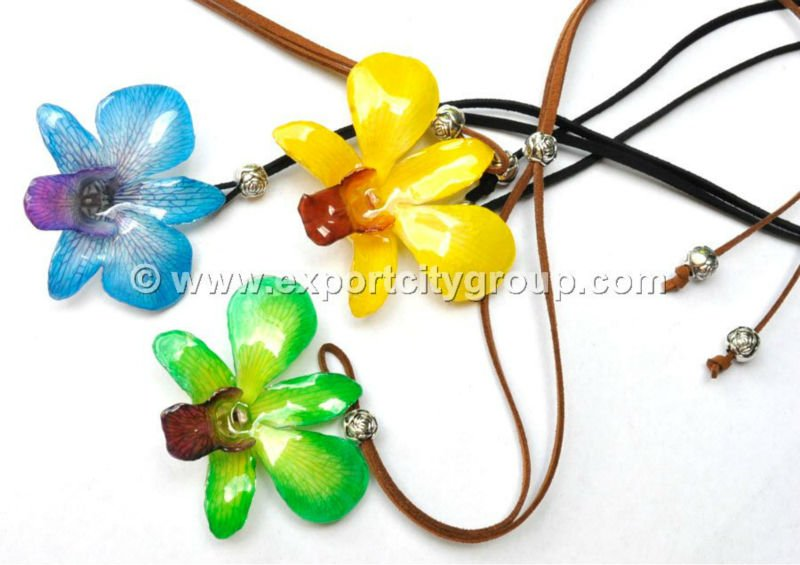Real orchid in resin pendant leather necklace