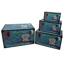 4 Piece handmade storage chest leather vintage wood trunks for decoration