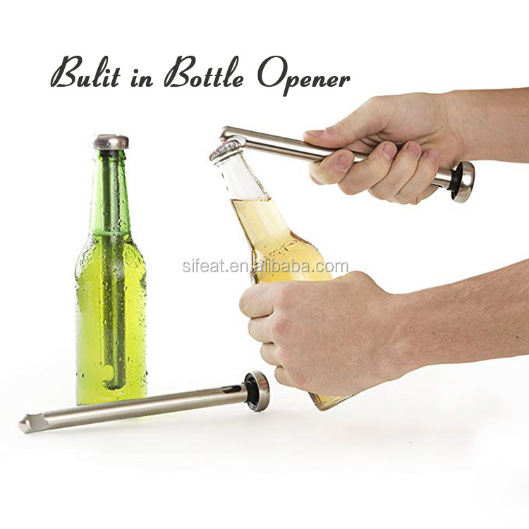 2 Pack Stainless Steel Beer Chiller Sticks Beer Chilling Rods Set With Bottle Opener