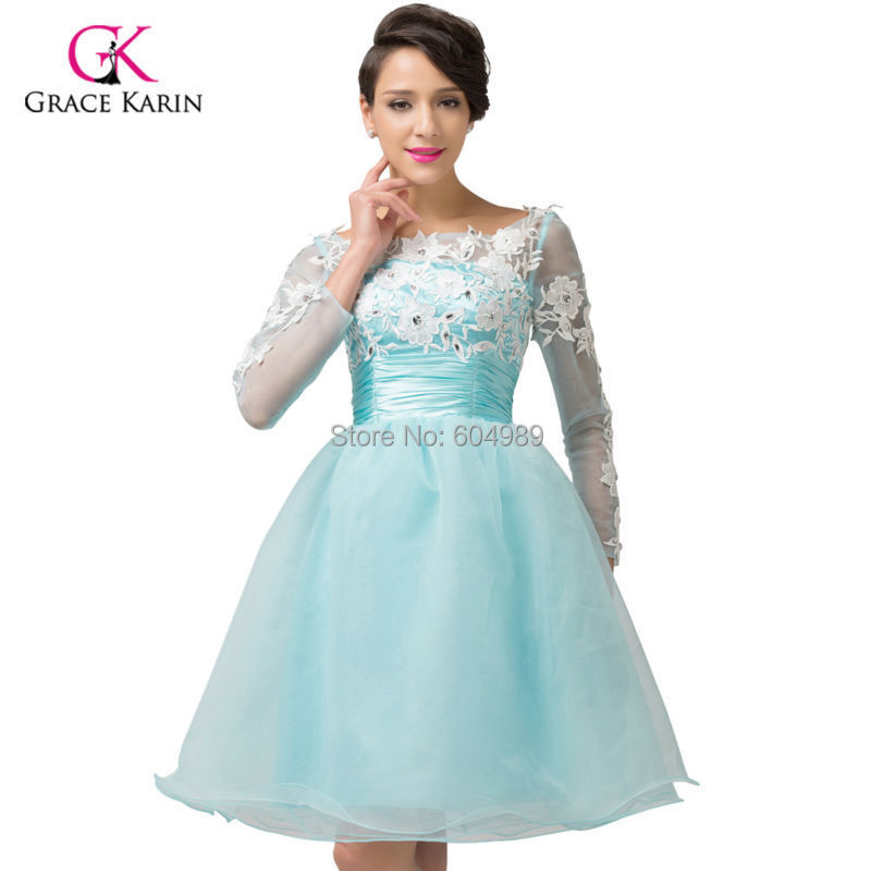 58a3b0a91d Get Quotations · Elegant Grace Karin Blue Lace Long Sleeve Evening Dress  Short Formal Ball Gown Birthday Prom Dress