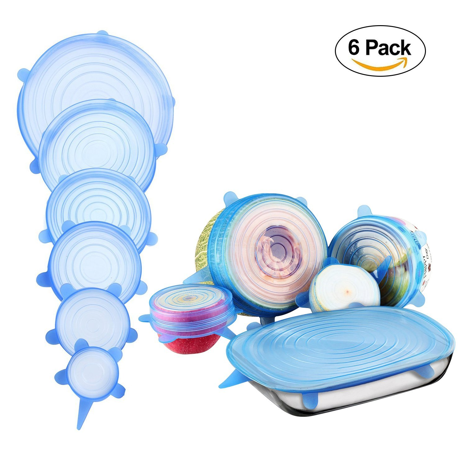 Silicone Stretch Lids - Sealing Cover - 6 Pack/12Pack- Homes- Durable and Eco-Friendly Stretch Lids for Fruits and Vegetables or Cups, Bowls, Dishes, Cans (6 pcs/set,blue)